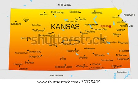 Vector color map of Kansas state. Usa - stock vector