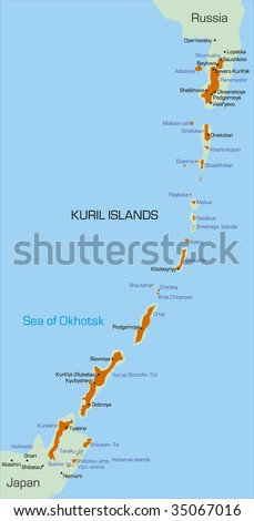 Vector color map of Kuril island - stock vector