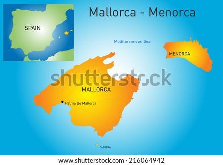 Vector color map of Mallorca-Menorca, Spain - stock vector