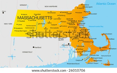 Vector color map of Massachusetts state. Usa - stock vector