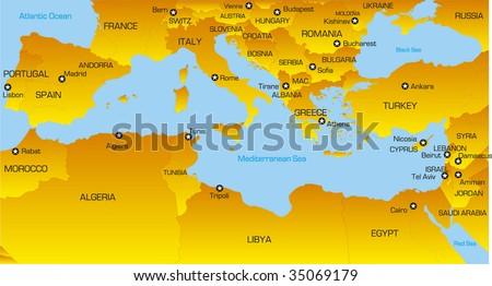 Vector color map of Mediterranean region countries - stock vector