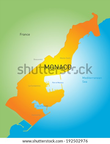 vector color map of Monako country