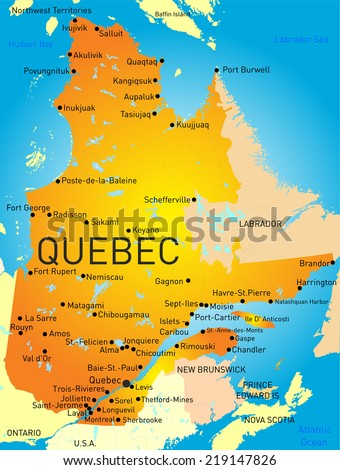 Vector color map of Quebec Province  - stock vector