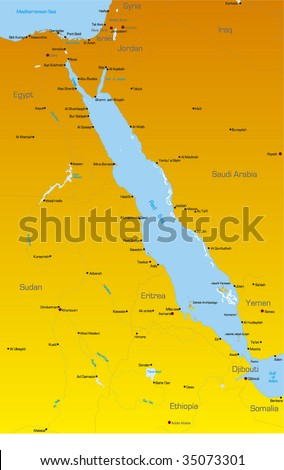 Vector color map of Red Sea region countries - stock vector
