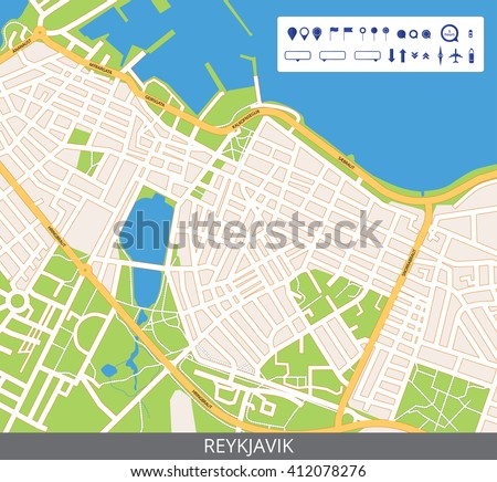 Vector color map of Reykjavik, the capital of Iceland. All objects are located on separate layers. Elements of this image are furnished by NASA.
