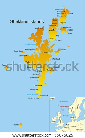 Vector Color Map Shetland Islands Stock Vector 35075026 - Shutterstock
