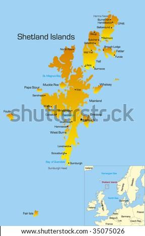 Vector color map of Shetland Islands - stock vector
