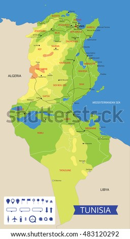 Vector color map of Tunisia with important cities and roads. All objects are located on separate layers.