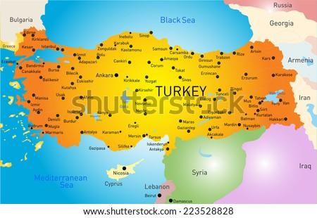 Vector Color Map Turkey Stock Vector Shutterstock - Map of turkey