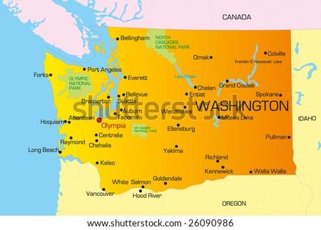 Vector color map of Washington state. Usa - stock vector