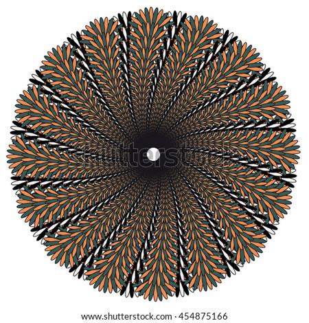 Vector color monochrome mandala. Contour spirograph, patterned design element, ethnic amulet. Doodling style. - stock vector