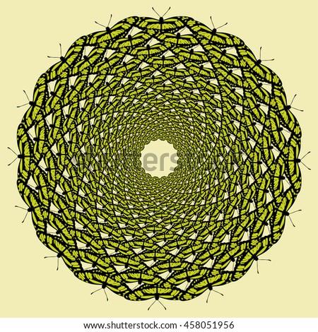 Vector color monochrome mandala.Contour spirograph, patterned design element, ethnic amulet. Doodling style. - stock vector