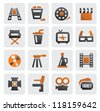 vector color movie icon set on gray - stock vector