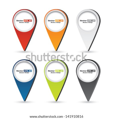 Vector color navigation/gps sign set - stock vector