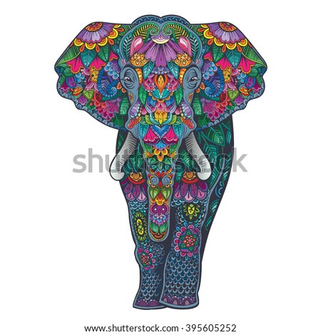 Vector Color Ornament Elephant Illustration - stock vector