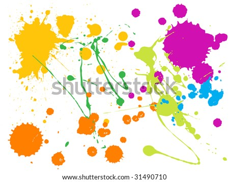 vector color paint splashes - stock vector