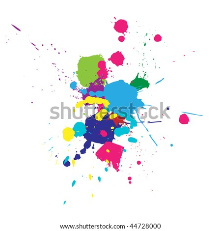 Vector color paint splashes background - stock vector