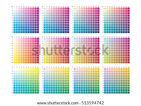 Cmyk Press Color Chart Stock Vector 343942829 - Shutterstock