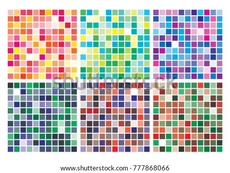 Vector color palette on A4 format, paper size 297 x 210 mm. Details chaotically scattered