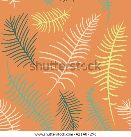 Vector color pattern of the beige, green, yellow palm leaves on the orange background. Vector color hand drawn illustration of the tropical palm leaves. - stock vector