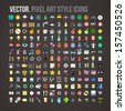 Vector color pixel art style icons set - stock