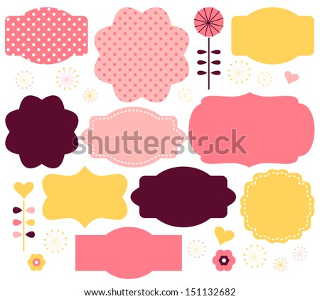 Vector color retro labels set isolated on white - stock vector