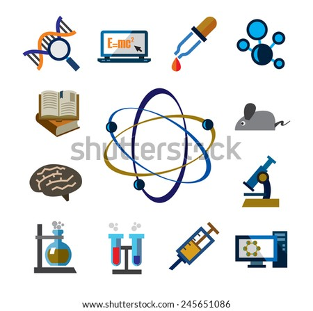 vector color science icons on white background - stock vector