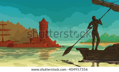 Vector color sea landscape. Sea with an oar on a small sailing boat. Old pier port sailboat - stock vector