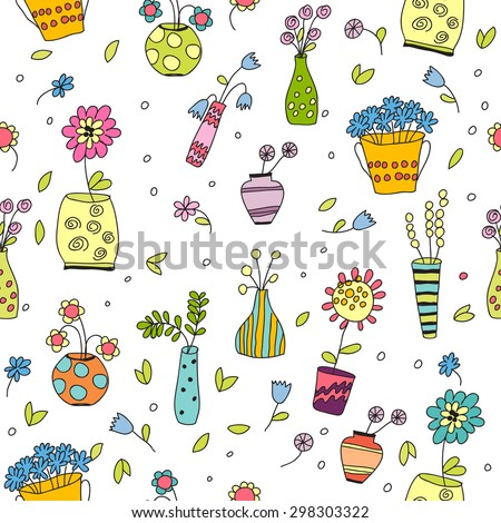 Vector color seamless pattern of flower pots with flowers in the style of children. - stock vector