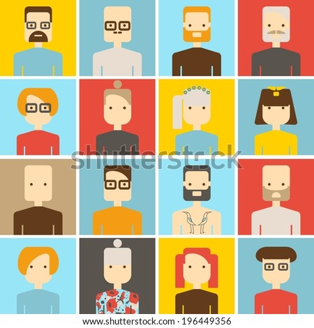 vector color set avatar people - stock vector