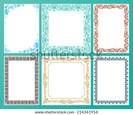 Vector color set. Ornate frames and vintage scroll elements illustration - stock vector