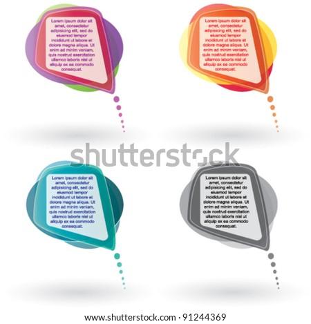 Vector Color Speech Bubble set - stock vector