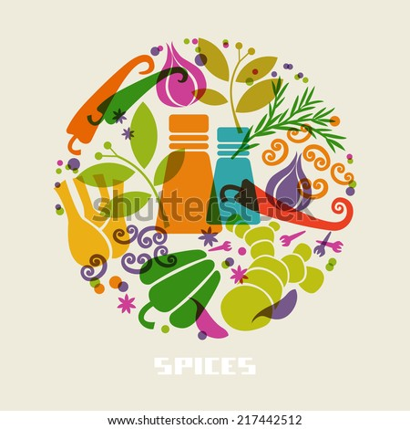 Vector color spices and herbs icon. Food sign. Healthy lifestyle illustration for print, web. Circle design element - stock vector