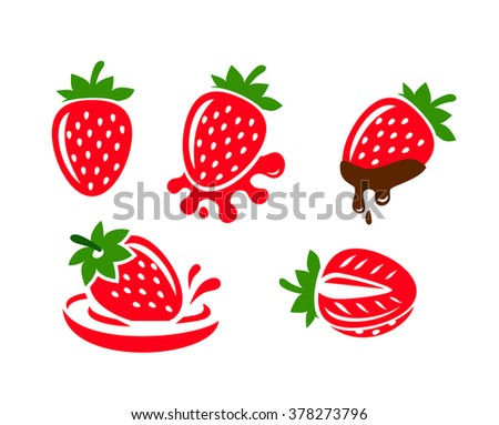vector color Strawberry icons on white background - stock vector