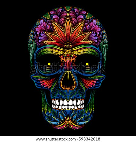 vector color tattoo skull on black background