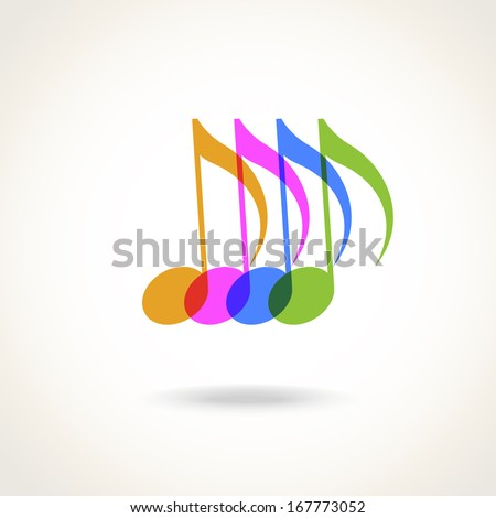 Vector color transparent notes. Simple original music icon with concept of creation and harmony. Original modern design element.  Musical abstract stylized decorative sign for print, web - stock vector