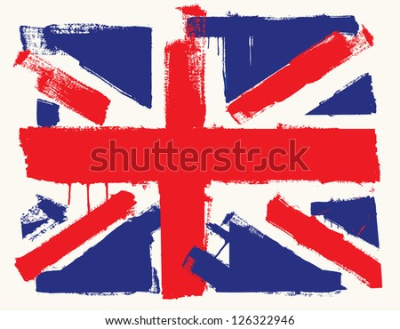 vector color UK paint flag on beige - stock vector