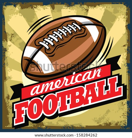 vector color vintage american football sign or poster