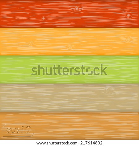 Vector color wood background - stock vector