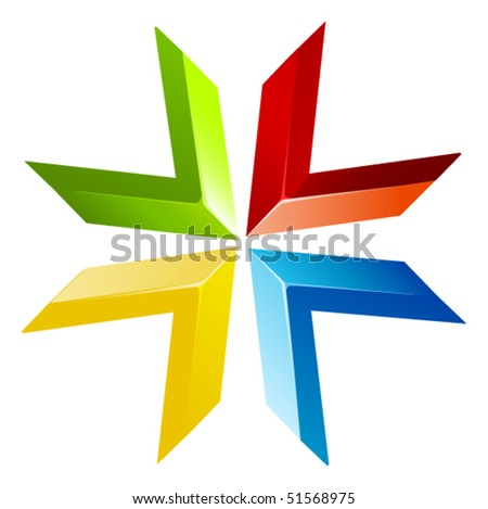 vector colored abstract flower - stock vector