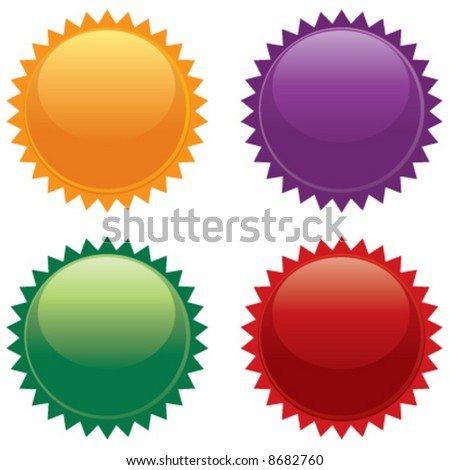 Vector colored burst icon labels - stock vector