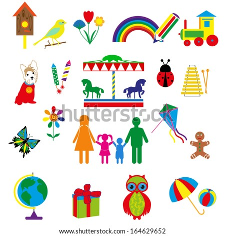 vector colored carnival icons .funny pictures with the reception of the rainbow. - stock vector