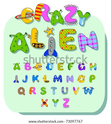 Vector colored cartoon alphabet with various design - stock vector