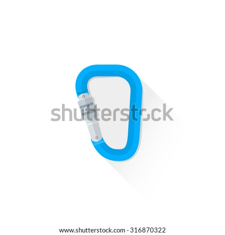 vector colored climbing blue metal carabiner flat design colored isolated illustration on white background with shadow  - stock vector