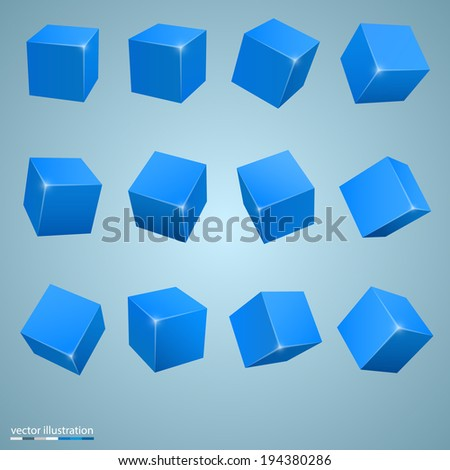 Vector colored cubes - stock vector