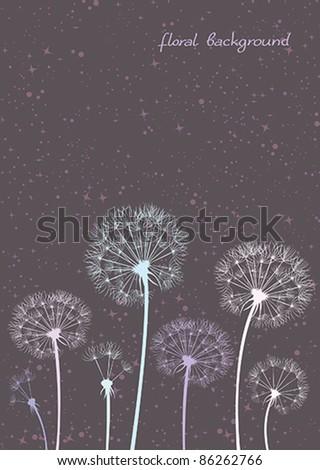 Vector colored dandelions - stock vector