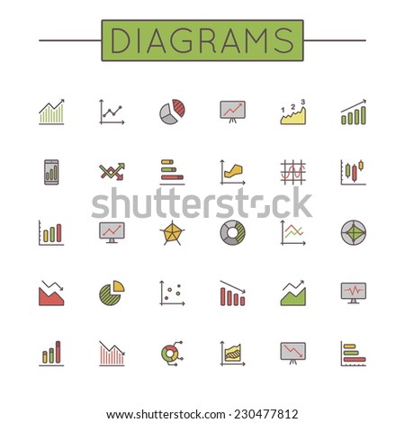 Vector Colored Diagrams Line Icons - stock vector