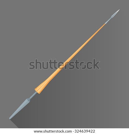 vector colored flat design metal sharp tip blade battle lance wood handle isolated illustration gray background long shadow - stock vector