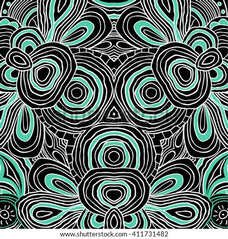 vector colored floral abstract pattern in black and mint colors. Symmetrical background. - stock vector