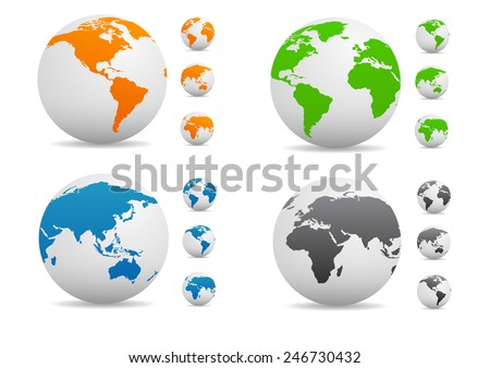 Vector Colored globe collection - stock vector